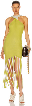 Bottega Veneta Halter Twist Fringe Dress in Acid & Optic White | FWRD