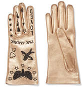 Gucci Embroidered Metallic Leather Gloves - Gold
