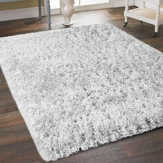 Bronx Sherborne Soft Thick Plush Cozy Handmade Shag White Area Rug Ivy Rug Size: Rectangle 5' x 7'