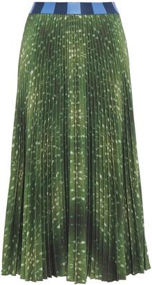 Stella Jean Pleated Printed Crepe Mdi Skirt