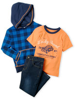 Lucky Brand Boys 4-7) 3-Piece Check Fleece Hoodie & Jeans Set