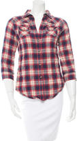 Elizabeth and James Long Sleeve Plaid Top