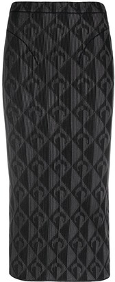 Marine Serre Geometric-Print Pencil Skirt