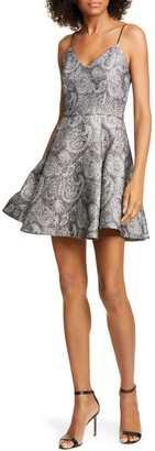 Alice + Olivia Anette Metallic Paisley Fit & Flare Dress