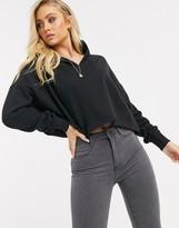 Asos Design DESIGN oversized boxy crop hoodie with drop neck in black
