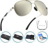 CGID GA61 Premium Al-Mg Alloy Aviator Polarized Sunglasses UV400, Full Mirrored Spring Hinges Sun Glasses for Men Women