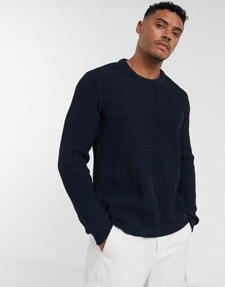 Jack and Jones Originals dropped shoulder heavy knitted sweater in navy