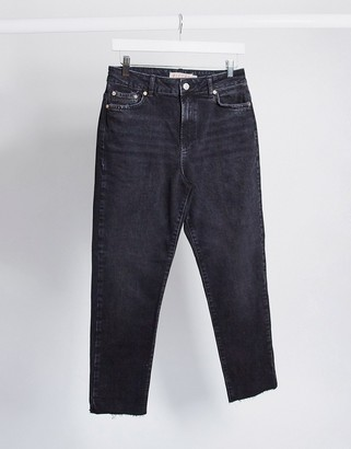 Pieces nima straight leg high waisted jeans in black