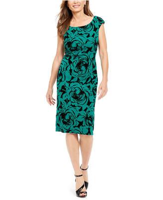 Connected Flocked Velvet Sheath Dress