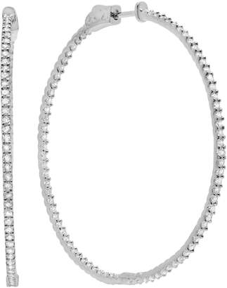 Crislu Diamonds on the Bar Sterling Silver Cubic Zirconia Hoop Earring