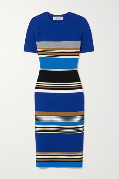 Diane von Furstenberg Dasha Striped Knitted Dress - Blue