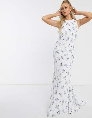 Jarlo Bridesmaid open back maxi dress in blue floral
