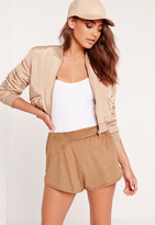 Missguided Faux Suede Runner Shorts Camel