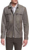 Vince Nubuck Leather Utility Jacket, Gray