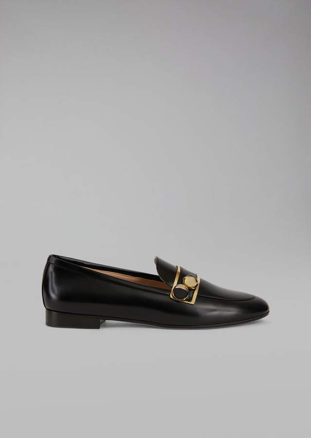 Giorgio Armani Leather Loafers With Demi-Sphere