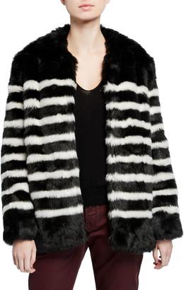 Frame Jerry Striped Faux-Fur Coat