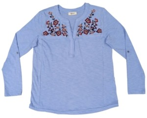 Style&Co. Style & Co Plus Size Embroidered Knit Top, Created For Macy's