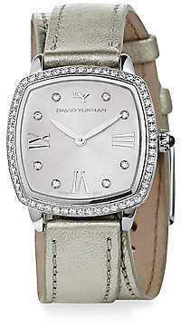 David Yurman Women's Albion 27MM Metallic Leather Swiss Quartz Watch with Diamonds