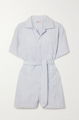 Terry. Belted Cotton Playsuit - Sky blue