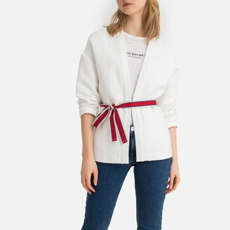 La Redoute Collections Loose Fit Cotton Kimono Jacket with Tie-Waist