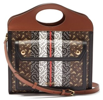 Burberry Pocket Mini Tb-print Coated-canvas Handbag - Brown Multi
