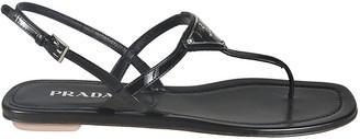 Prada Logo Flat Sandals
