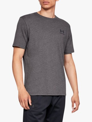 Under Armour Charged Cotton Short Sleeve Training Top, Charcoal Medium Heather/Black