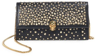 Alexander McQueen Skull Studded Leather Wallet-On-Chain