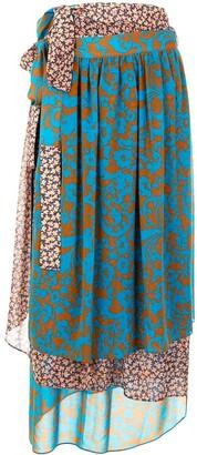 Maison Mihara Yasuhiro Contrast Floral Print Midi Skirt