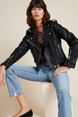 Blank NYC Classic Faux Leather Moto Jacket By in Black Size S