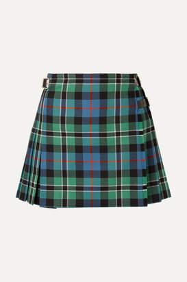 Christopher Kane Pleated Checked Wool Wrap Mini Skirt - Cobalt blue