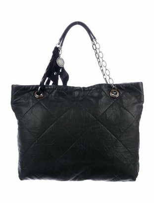 Lanvin Quilted Leather Tote Black