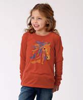 Roper Orange Horse Linen-Blend Tee - Girls