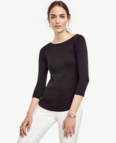 Ann Taylor Cotton Boatneck Tee