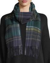 Saint Laurent Plaid Wool Scarf w/ Fringe