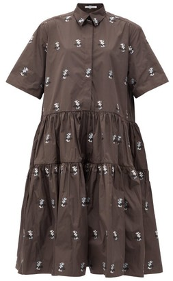 Cecilie Bahnsen Primrose Hawthorn Floral-jacquard Midi Shirt Dress - Brown