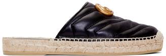 Gucci Black Leather GG Espadrilles