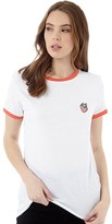 Brave Soul Womens Berry T-Shirt White/Coral Red