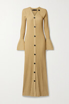 Thumbnail for your product : Proenza Schouler Button-detailed Ribbed-knit Maxi Dress - Ecru
