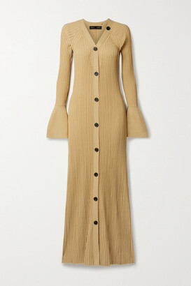 Proenza Schouler Button-detailed Ribbed-knit Maxi Dress - Ecru