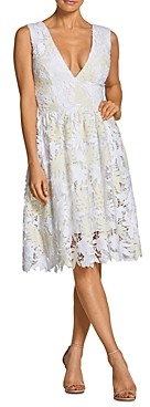 Dress the Population Rita Fit-and-Flare Lace Dress