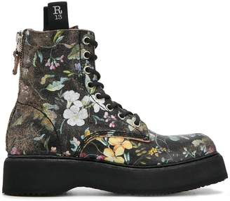 R 13 floral print lace-up boots