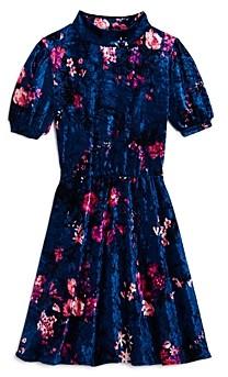 Aqua Girls' Mock-Neck Floral Velvet Dress, Big Kid - 100% Exclusive