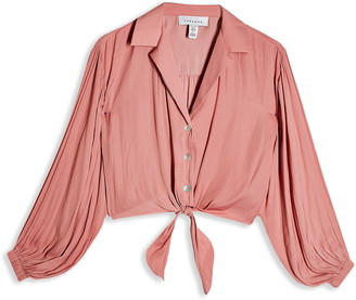 Topshop Tie Front Long Sleeve Shirt