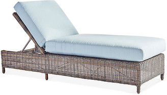 Del Ray Wicker Chaise Lounge - Chestnut/Canvas - South Sea Rattan