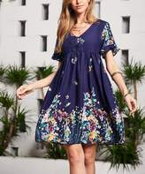 Reborn Collection Women's Casual Dresses Navy - Navy Floral Ruffle-Sleeve Dress - Women
