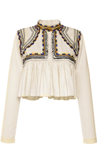Isabel Marant Embroidered Cotton Twill Sachi Top