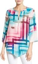 Chaus Women's Ombre Prism Zip Front Blouse
