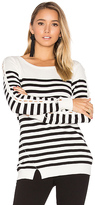 Central Park West Baton Rouge Stripe Sweater in Black. - size L (also in S,XS)
