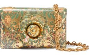 Oscar de la Renta Tro Appliqued Floral-print Metallic Textured-leather Shoulder Bag
